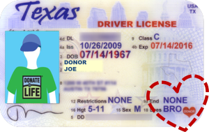 Want a Hero's Heart on your license? Just say YES to donation at the DPS!